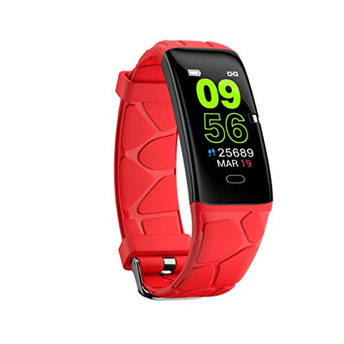 (SUNSEE ELECTRONICS Blue Light Heart Rate Blood Pressure Monitor Fitness Tracker Wristband Smartwatch Bracelets (Strap Size:22mmx260mm, Red))