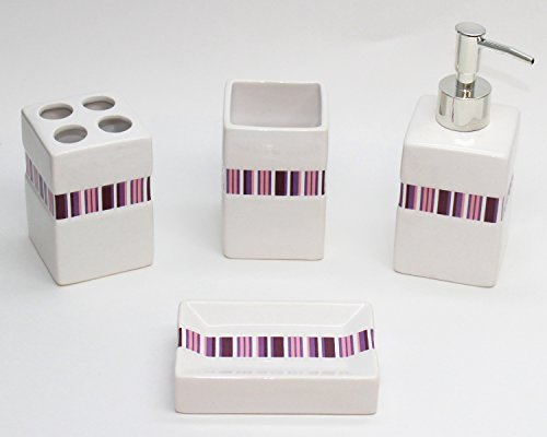 Blissful Living 4 Piece Bath Accessory Set - Includes Toothbrush Holder, Liquid Soap Pump, Tumbler and Soap Dish - Available in Many Different Colors to Suit Any Bathroom Style (Purple)