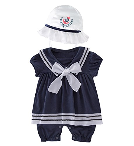 May's Baby Girls Sailor Marine Navy Romper Onesie Outfit with Hat (Sailor Outfit Girls)
