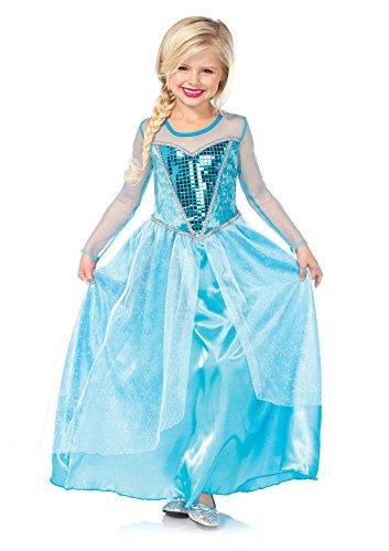 [1 PC. Girls' Fantasy Snow Queen Dress - Smalll - Aqua] (Child Fantasy Snow Queen Costumes)