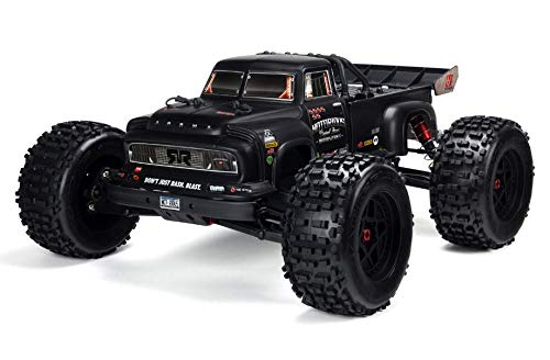 ARRMA Notorious 1/8 Scale BLX Brushless 4WD RC Stunt Truck RTR (6S Lipo Battery Required) with 2.4GHz STX2 Radio, ARA106044T1 (Black) (1 8th Scale Rc Truck)