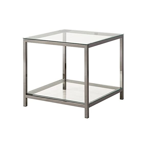 Coaster Home Furnishings End Table with Shelf Black Nickel and Clear - Set includes: One (1) end table Materials: Glass and Metal Finish Color: Black Nickel and Clear - living-room-furniture, living-room, end-tables - 41jpdtAN1UL. SS570  -
