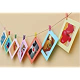 "ITTA 3pack/30 pcs Creative DIY Paper Photo Frame Wall Decor with Mini Clothespins and Hemp Ropes - Fits 5""x 7"" Pictures (10colors)"