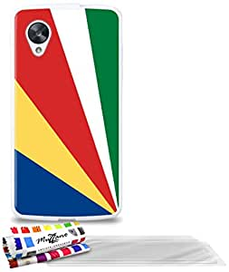 """Carcasa Flexible Ultra-Slim GOOGLE NEXUS 5 de exclusivo motivo [Seychelles Bandera] [Blanca] de MUZZANO  + 3 Pelliculas de Pantalla """"UltraClear"""" + ESTILETE y PAÑO MUZZANO REGALADOS - La Protección Antigolpes ULTIMA, ELEGANTE Y DURADERA para su GOOGLE NEXUS 5"""