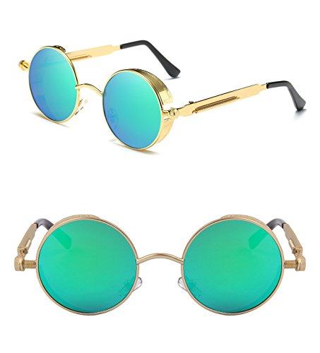 9bb2778a9cc Ronsou Steampunk Style Round Vintage Polarized Sunglasses Retro Eyewear  UV400 Protection Matel Frame - Buy Online in Oman.
