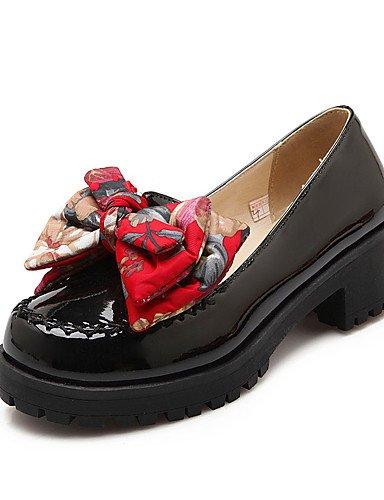Rosso Beige ® Rosso Scarpe CN43 tac negro di tacones 5 EU42 EU39 n mujer US8 UK6 US10 Nero vestido 5 CN41 UK8 tacones ¨ ZQ semicuero robusto casual AZW6cna6