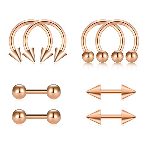 Gold Double Horseshoe - AVYRING 16G 8mm Helix Earrings Cartilage Barbells Tragus Earring Studs Stainless Steel Piercing Rose Gold Jewelry
