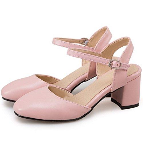 COOLCEPT Damen Mode Knochelriemchen Sandalen Blockabsatz Slingback Geschlossene Schuhe Gr Rosa