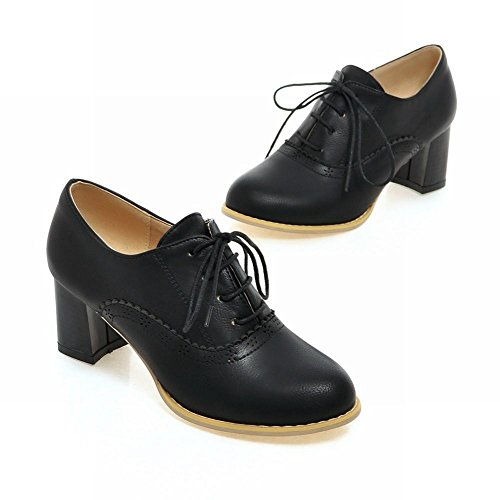 up Fashion Heel Black Chunky Shoes Oxfords Latasa Lace Mid Womens CqntUW4ZwF