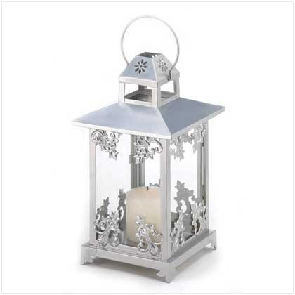 Gifts & Decor Silver Scrollwork Iron Home Candle Holder Lantern (Unique Wedding Centerpieces)