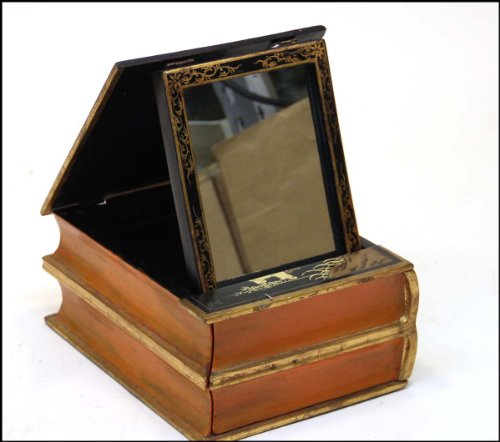 - [Book Box]: Chinoiserie Style Lacquer Book Form Dressing Box