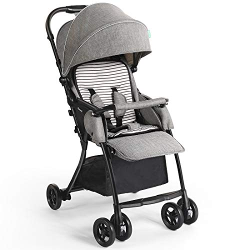 Dourxi Lightweight Stroller, One-Hand Fold Baby Stroller with 5-Point Safety Harness and Multi-Position Reclining Seat, Removable Seat Padding, Extended Canopy, Large Storage Basket – Linen Ash Grey