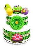 Gender Neutral Diaper Cake - Topsy Turtle 2 Tier Baby Shower Centerpiece Decoration