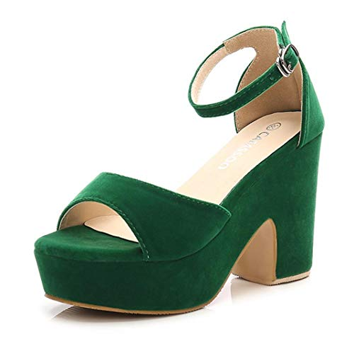 Women's Open Toe Ankle Strap Block Heeled Wedge Platform Sandals Green Velveteen US9.5 EUR42