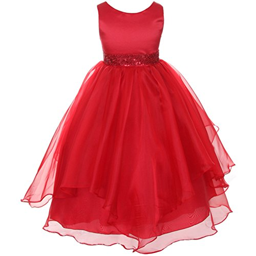 CrunchyCucumber Big Girls Satin Bodice Asymmetric Ruffles Organza Skirt Beaded Waistline Red - Size (Waist Beaded Bodice)