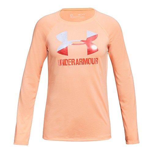 Under Armour Girls Big Logo Long Sleeve Shirt, Peach Horizon (906)/After Burn, Youth Large (Girls Youth Activewear)