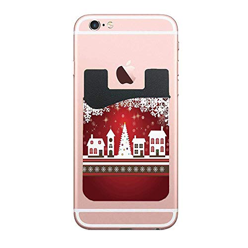 Christmas Decorations,Winter Holidays Theme Gingerbread House Tree Lights and Snowflakes Art,Red White 2 PCS Cell Phone Stick On Wallet Card Holder Phone Pocket for All Smartphones]()