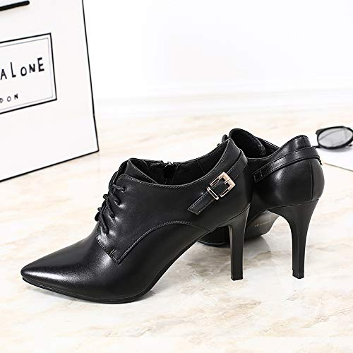 And Frenulum Pointed Deep Belt Shoes Heel KPHY Thirty Buckle 8Cm Autumn Heel And Black Thin Six Mouth High Spring Small Shoes Sexy qCvz0UC