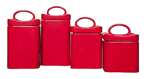 Home Essentials 70760 Red Wavy Square Canisters, Set of 4 30oz-40oz-50oz-58oz by Home Essentials & Beyond