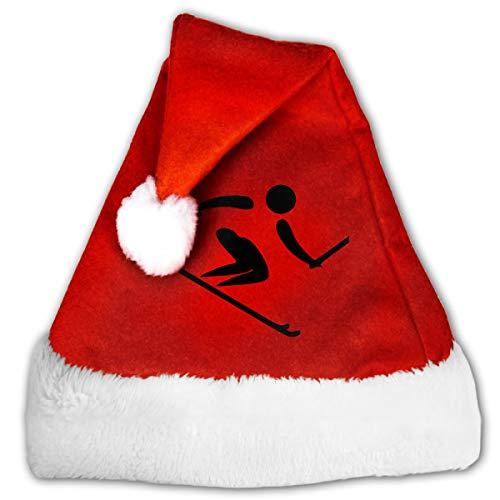 FQWEDY Skiing Logo Unisex-Adult's Santa Hat, Velvet Christmas Festival Hat -