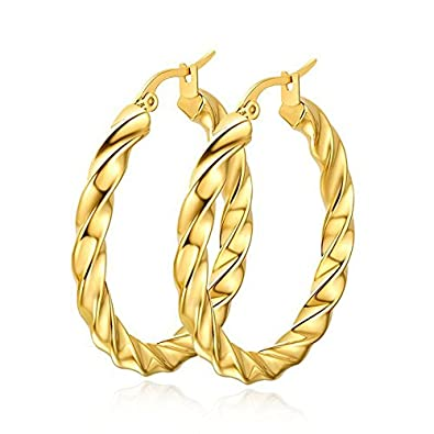 f8067d746 Amazon.com: AnaZoz Jewelry Punk large hoop earring for women lady stainless  steel gold chunky: Jewelry