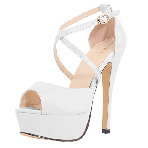ZriEy Women's Sexy Noble Platform Sandals Ankle Strap High Heels for Cocktail Prom Party Wedding Dancing Shoes White Size 8.5 /39 M EU