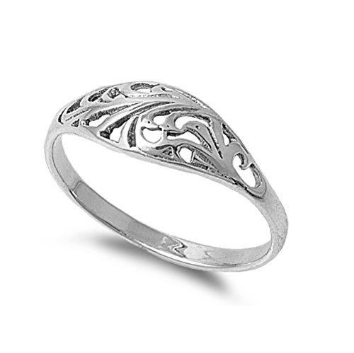 Sterling Silver Filigree Designer Petite Rings Size 3 Birthday Boy Ring