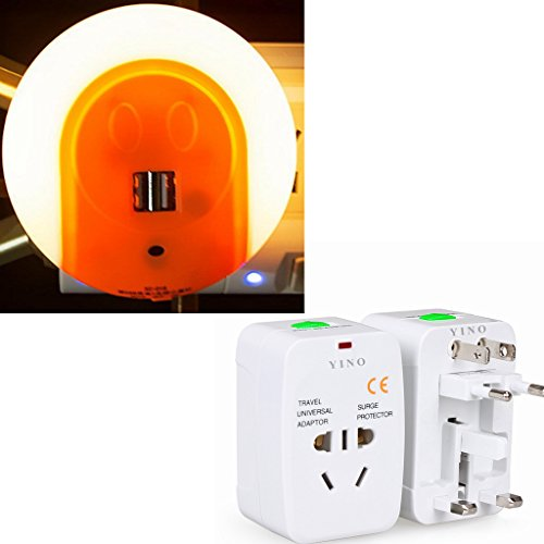 YINO LED Night Light Plug-and-Play Automatic Wall Lights with Dusk to Dawn Sensor and Dual USB Ports,Come with A Worldwide Travel Universal Adaptor (Orange) by YINO