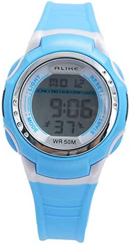 Aivtalk Child Boys Wristwatch 50M Water Resistant Led Multifunctional Quartz Digital Alarm Sports Watch For Students - Blue
