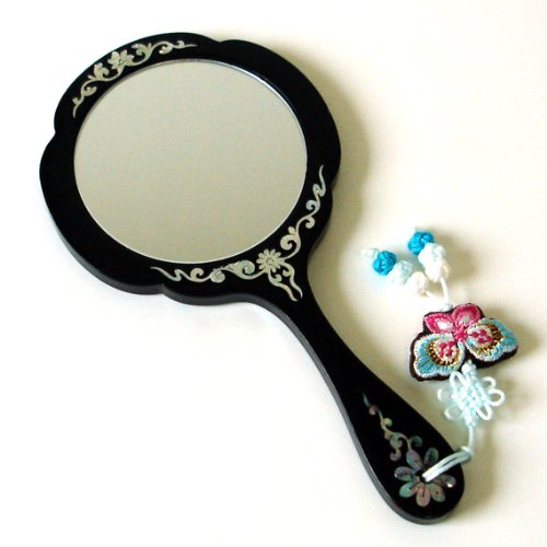 Mother of Pearl Peony Flower Design Black Wooden Cosmetic Makeup Vanity Hand Lady Mirror