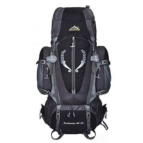 OWMEOT 85L Internal Frame Hiking Backpack for Women and Men with Waterproof Rain Cover Climbing Backpack fit Outdoor Travel Mountaineering Camping (Black) by OWMEOT (Image #4)