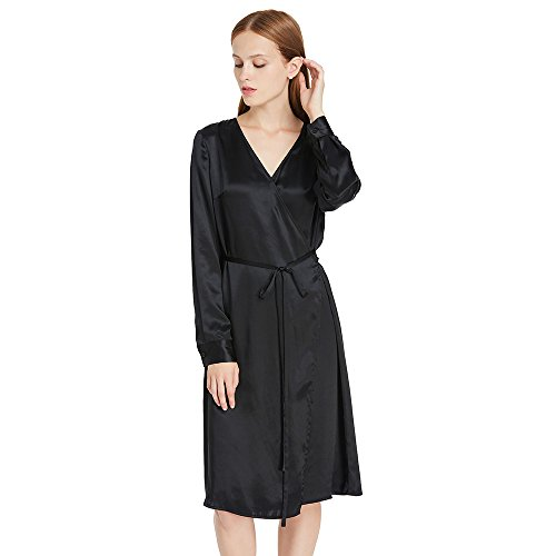 LilySilk Silk Dress for Women Long Sleeve 100 Pure Mulberry Charmeuse 22MM Sexy with Belt Wrap Maxi Dresses for Ladies Black M/8-10 ()