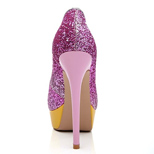 Toe Chaussures uBeauty Femme Sandales Escarpins Rouge Taille Open Plateforme Toe Grande Peep Multicolore 164pUy4