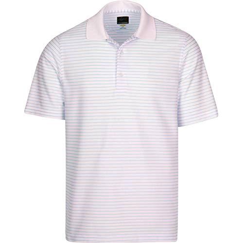 - Greg Norman Men's Protek Micro Pique Stripe Polo, White/Blue Mist, Large