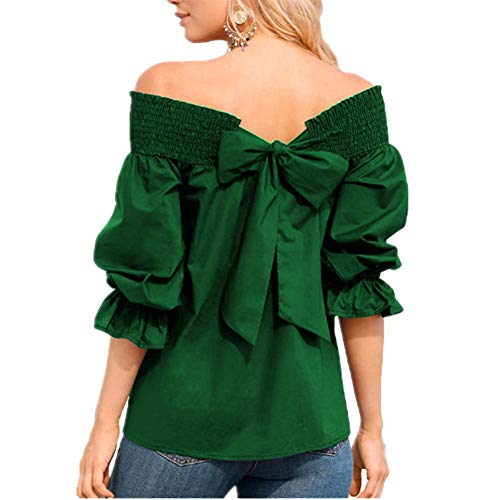 Back Bow Tie T Shirts Summer Off Shoulder Puff Sleeve Bandage Blouse Tops - Green - M