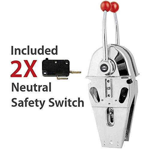 (GoHawk Top Mount Marine Boat Dual Twin Lever Handle Engine Throttle Motor Control, Included Safety Neutral Control)