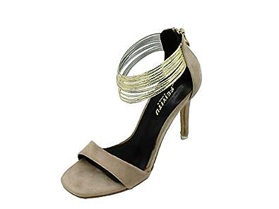 b70eeec93 Dress Sandals Women's Open Toe Metal Ankle Strap Stiletto High Heel Sandal-( Beige-