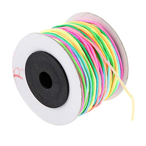 Fityle 1 Roll Braided Nylon Cord Colorful Imitation Silk String Thread for DIY Craft and Jewelry Making, Chinese Knot, 0.8mm, 1.5mm - ()