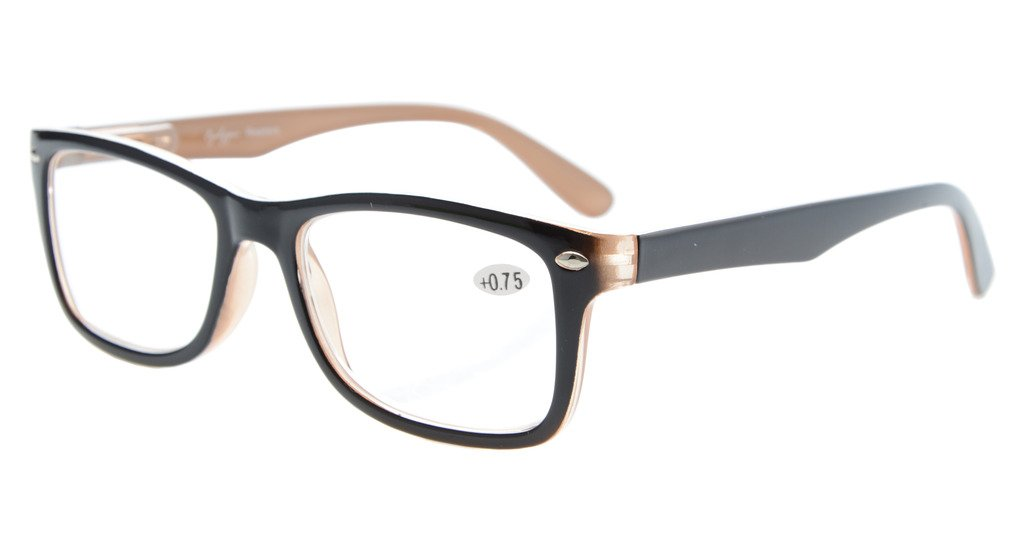 Eyekepper Readers Spring-Hinges Quality Classic Vintage Style Reading Glasses Black-Brown +0.75