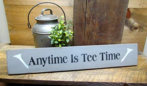 - wonbye Wooden Golf Sign, Anytime is Tee Time, Golfer Gift, Sign for dad, Gift for dad, Wooden Sign, Wood Sign Sayings, Wood Signs Plaque Rustic Funny Gifts