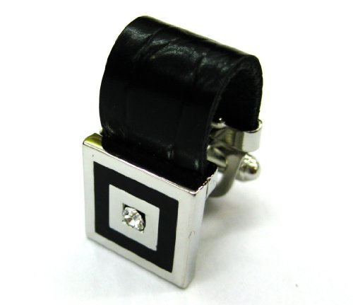 Chain White Cufflinks - Wrap Around Calf Leather Chain with White Crystals Cufflinks Cuff Links