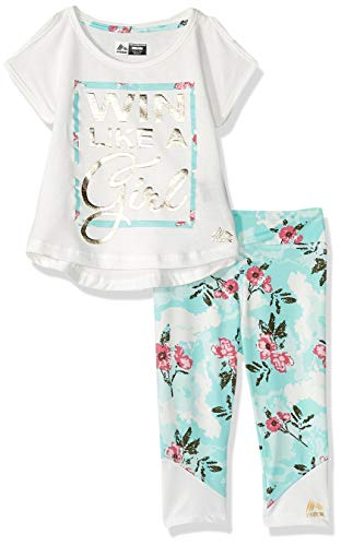 RBX Girls' Toddler 2 pc Set Active Top/Capri, Wine White Mint, 3T