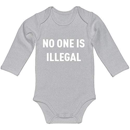 Baby Romper No One is Illegal Heather Grey for Newborn Long-Sleeve Infant Bodysuit]()