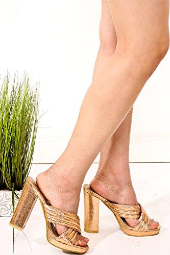 Lolli Couture Diamante Lettera Lettera Mary Jane Stile Cinturino Fibbia A Punta Smussata Piattaforma Stiletto Tacchi Rosegolcrackpu-m15-1