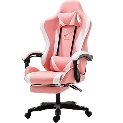 Gaming Silla de Escritorio Silla Silla de Oficina con Soporte Lumbar tiron de Las Armas Apoyo for la Cabeza giratoria Ajustable balanceo Racing informaticos Silla for ninas, Rosa Gaming Chair RVTYR