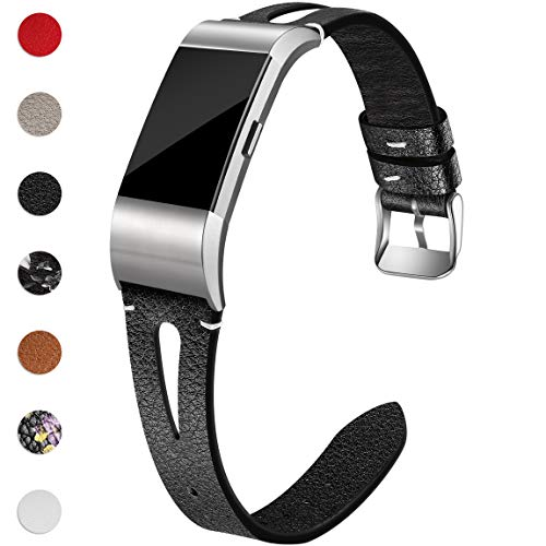 Maledan Bands Compatible for Fitbit Charge 2, Slim Genuine Leather Band Replacement Accessories Strap for Fitbit Charge 2, Women Men, Small, Black
