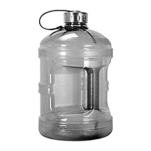 1 Gallon BPA FREE Reusable Plastic Drinking Water Bottle w/ Stainless Steel Cap (Black)