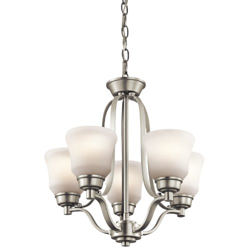 Kichler Lighting 1788NI Langford 5-Light Mini-Chandelier, Brushed Nickel Finish with Satin-Etched White Glass Shades