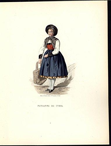 Beautiful Peasant Outfit Tyrol Austria c.1860 antique ethnic color costume print]()