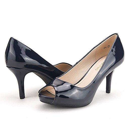 Dream Pairs Ol Para Mujer Elegante Clásico Del Dedo Del Pie Plataforma Del Partido Del Banquete De Tacón Bajo Plataforma Peep Toe Bombas Zapatos Azul Marino Pat